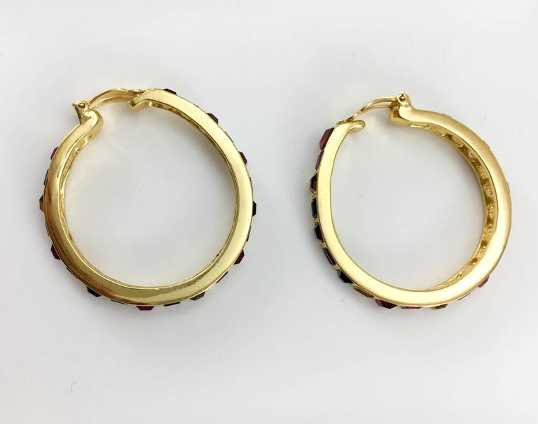 1980s Yves Saint Laurent Large Crystal Embellished Gold-Plated Hoop Earrings For Sale 3