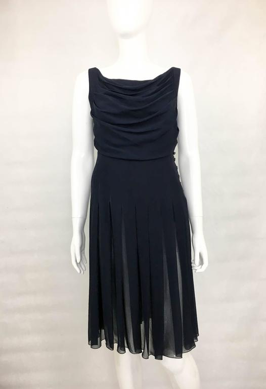 Black Chanel Midnight Blue Silk Chiffon Draped and Pleated Dress, Circa 2000 For Sale
