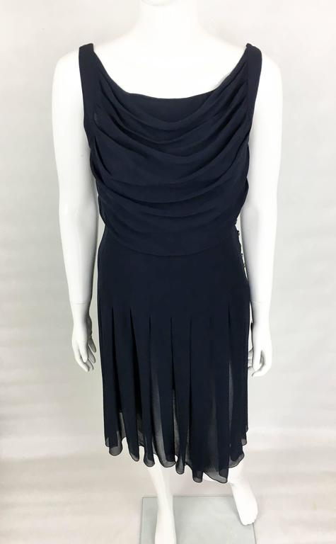 Chanel Midnight Blue Silk Chiffon Draped and Pleated Dress, Circa 2000 In Excellent Condition For Sale In London, Chelsea