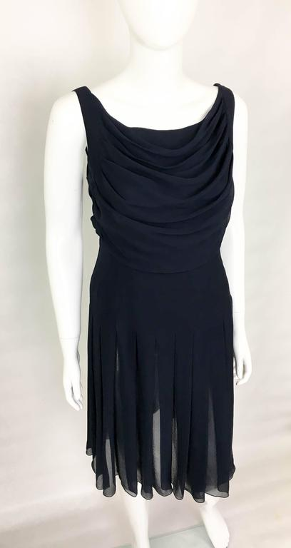 Women's Chanel Midnight Blue Silk Chiffon Draped and Pleated Dress, Circa 2000 For Sale