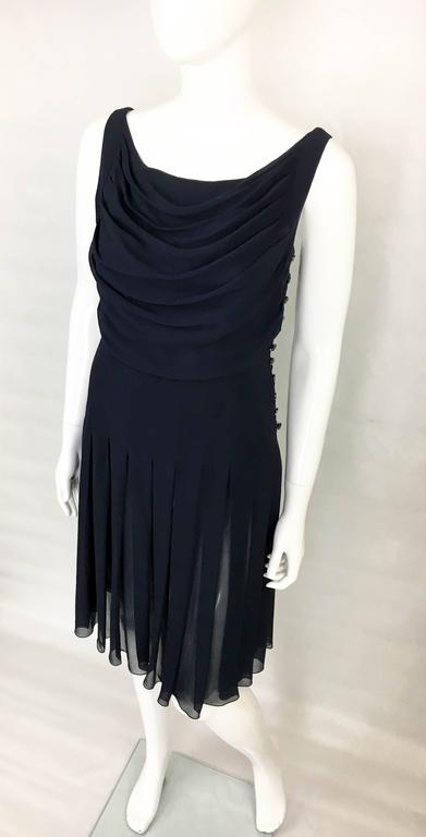 Chanel Midnight Blue Silk Chiffon Draped and Pleated Dress, Circa 2000 For Sale 1