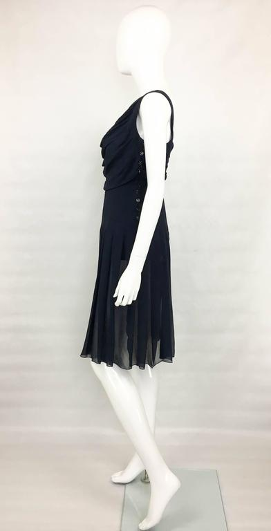 Chanel Midnight Blue Silk Chiffon Draped and Pleated Dress, Circa 2000 For Sale 2
