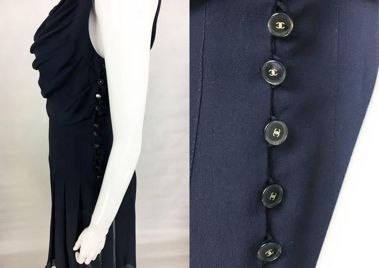 Chanel Midnight Blue Silk Chiffon Draped and Pleated Dress, Circa 2000 For Sale 3