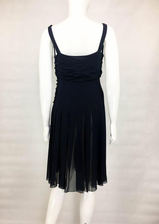 Chanel Midnight Blue Silk Chiffon Draped and Pleated Dress, Circa 2000 For Sale 4