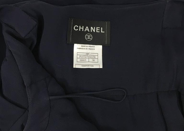 Chanel Midnight Blue Silk Chiffon Draped and Pleated Dress, Circa 2000 For Sale 5