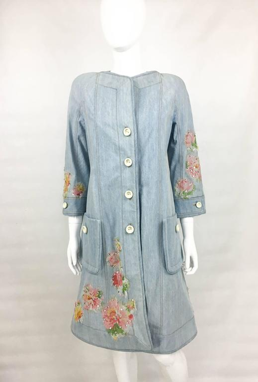 Gray Dior by Galliano 2005 Runway Look Denim Shirt Dress With Crystals and Appliqués For Sale