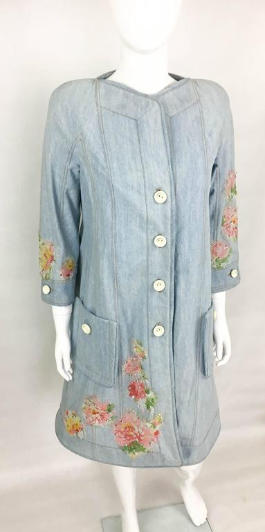 Dior by Galliano 2005 Runway Look Denim Shirt Dress With Crystals and Appliqués In Excellent Condition For Sale In London, Chelsea