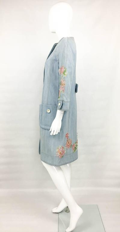 Women's Dior by Galliano 2005 Runway Look Denim Shirt Dress With Crystals and Appliqués For Sale