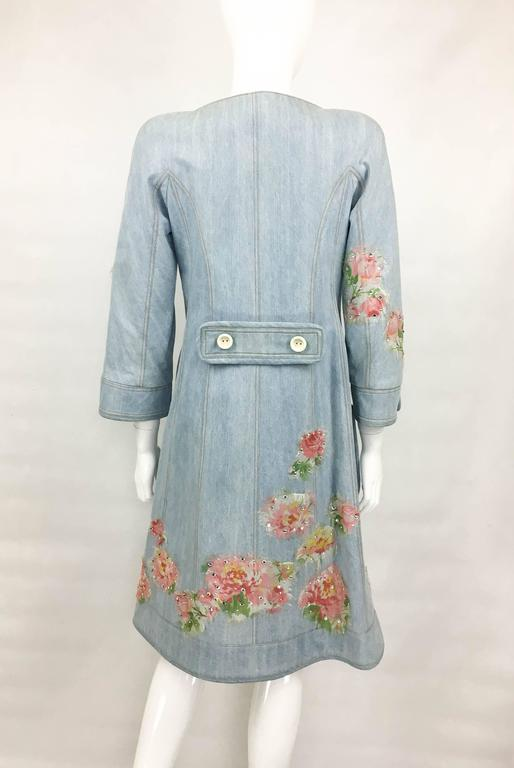 Dior by Galliano 2005 Runway Look Denim Shirt Dress With Crystals and Appliqués For Sale 1