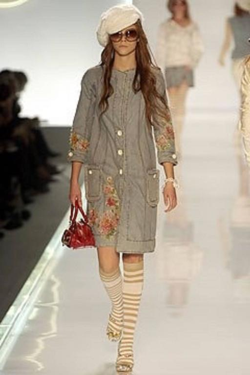 Dior by Galliano 2005 Runway Look Denim Shirt Dress With Crystals and Appliqués For Sale 5