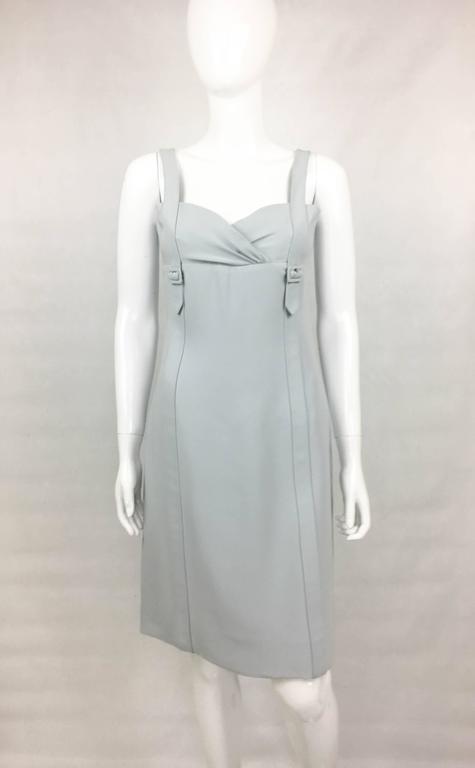 Gray Valentino Pale Blue Silk Dress For Sale