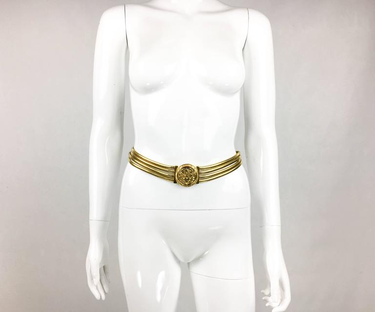 1980s Christian Lacroix Medallion Buckle Snake Chain Gilded Belt 2