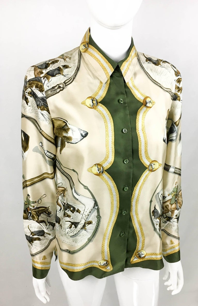 1970s Hermes Hunting Scene Silk Blouse In Excellent Condition For Sale In London, Chelsea