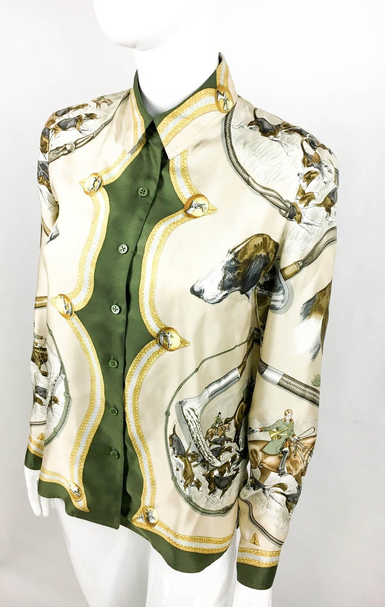 Women's 1970s Hermes Hunting Scene Silk Blouse For Sale