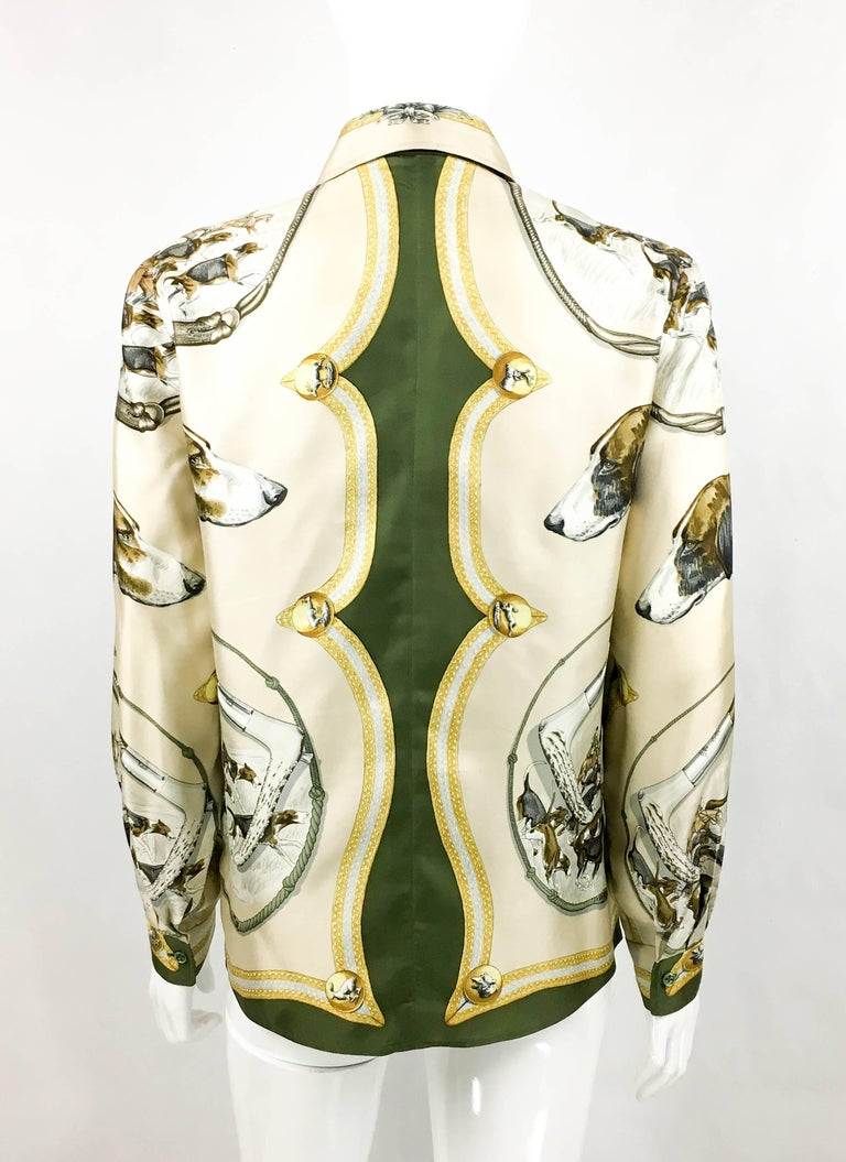 1970s Hermes Hunting Scene Silk Blouse For Sale 2