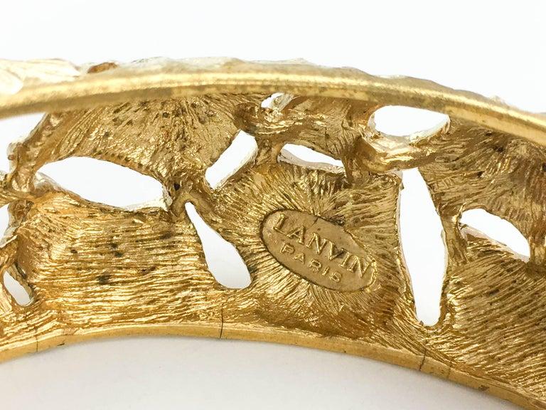 Lanvin Modernist Gilt Bracelet, 1970s  For Sale 4