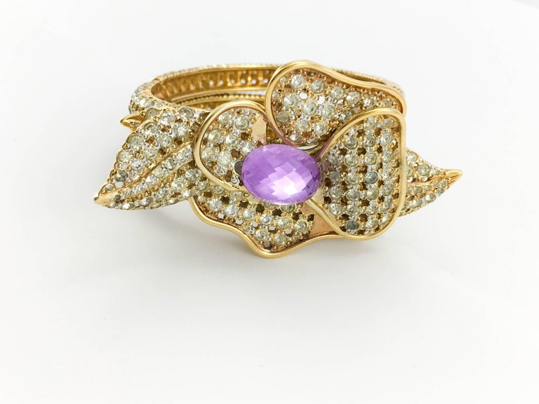 Women's 1990s Valentino Diamanté and Faux Amethyst Gilt Flower Bracelet For Sale