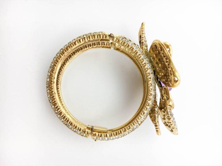 1990s Valentino Diamanté and Faux Amethyst Gilt Flower Bracelet For Sale 2