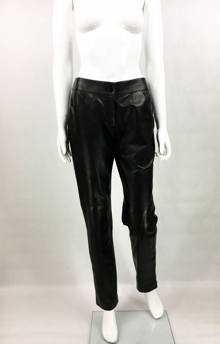 2003 Chanel Black Calfskin Leather Pants In Excellent Condition For Sale In London, Chelsea
