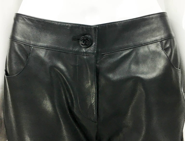 Women's 2003 Chanel Black Calfskin Leather Pants For Sale