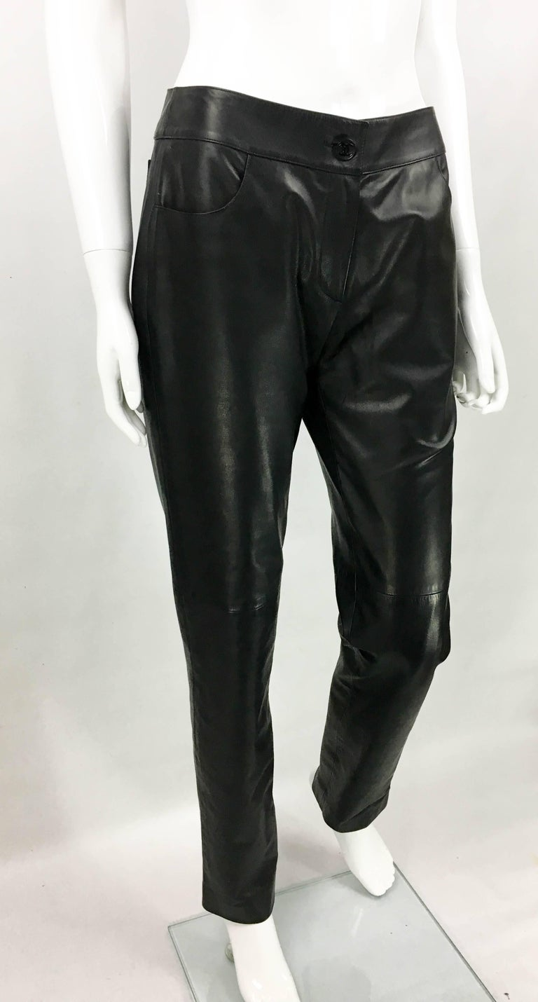 2003 Chanel Black Calfskin Leather Pants For Sale 1