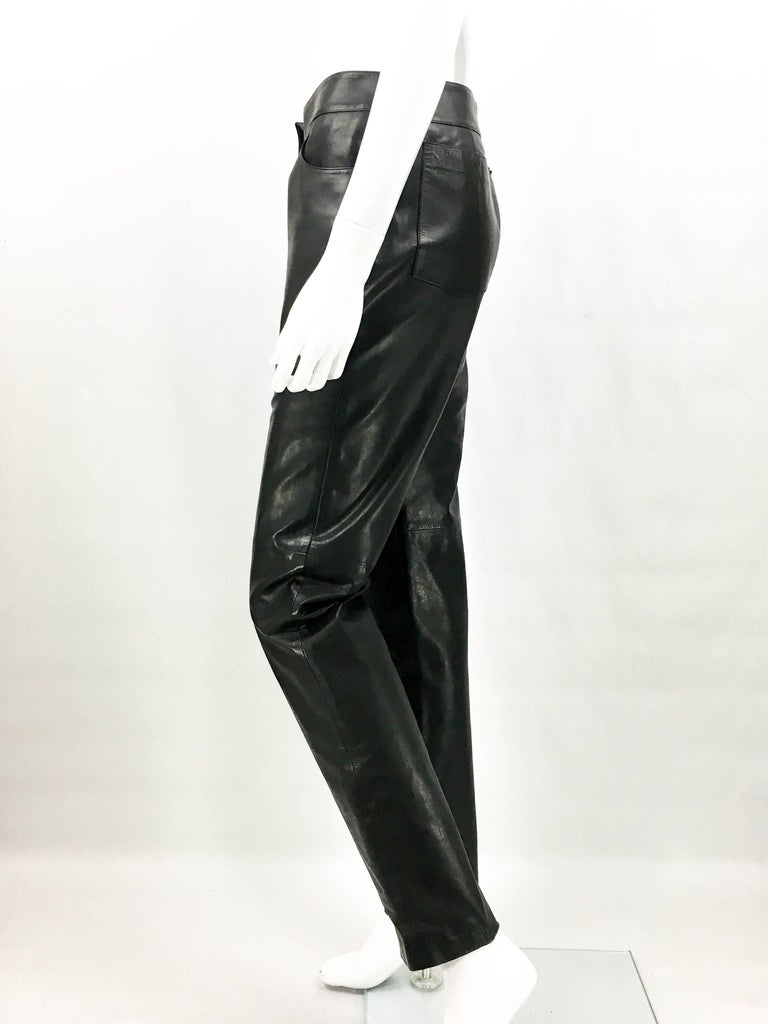 2003 Chanel Black Calfskin Leather Pants For Sale 2
