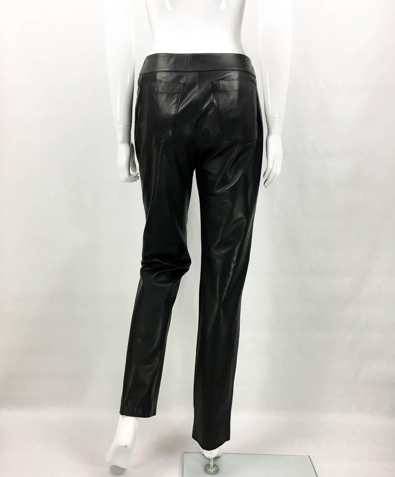 2003 Chanel Black Calfskin Leather Pants For Sale 3