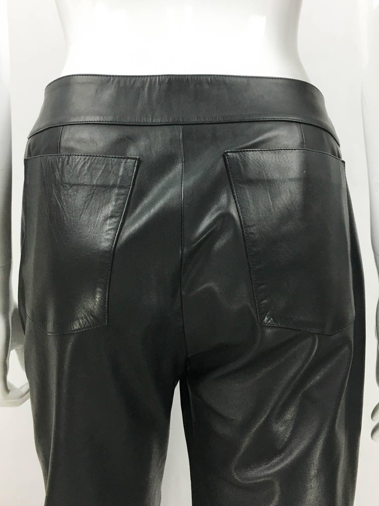 2003 Chanel Black Calfskin Leather Pants For Sale 4