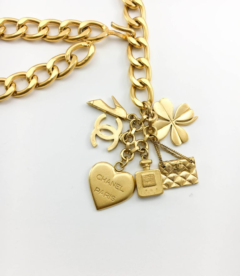1996 Chanel Gilt Chain and Charms Belt / Necklace 8