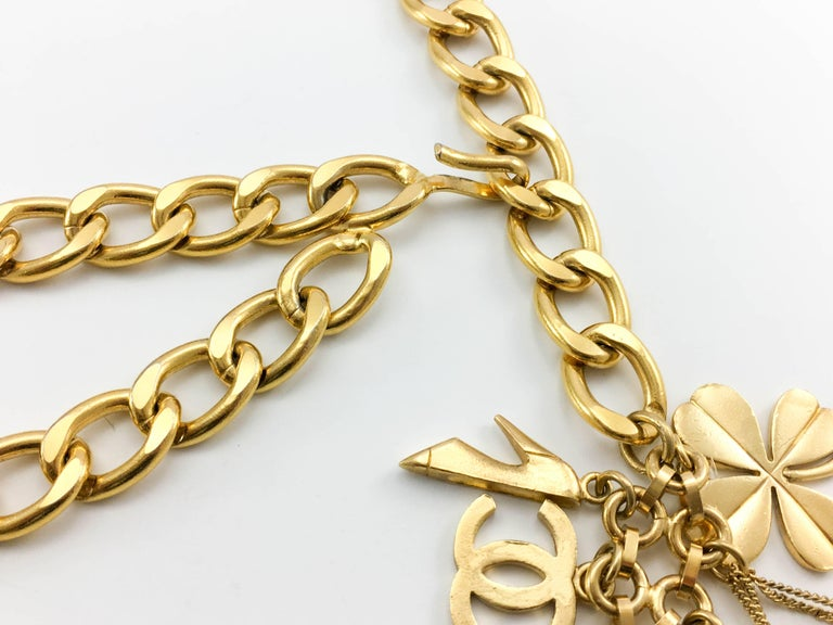 1996 Chanel Gilt Chain and Charms Belt / Necklace For Sale 4