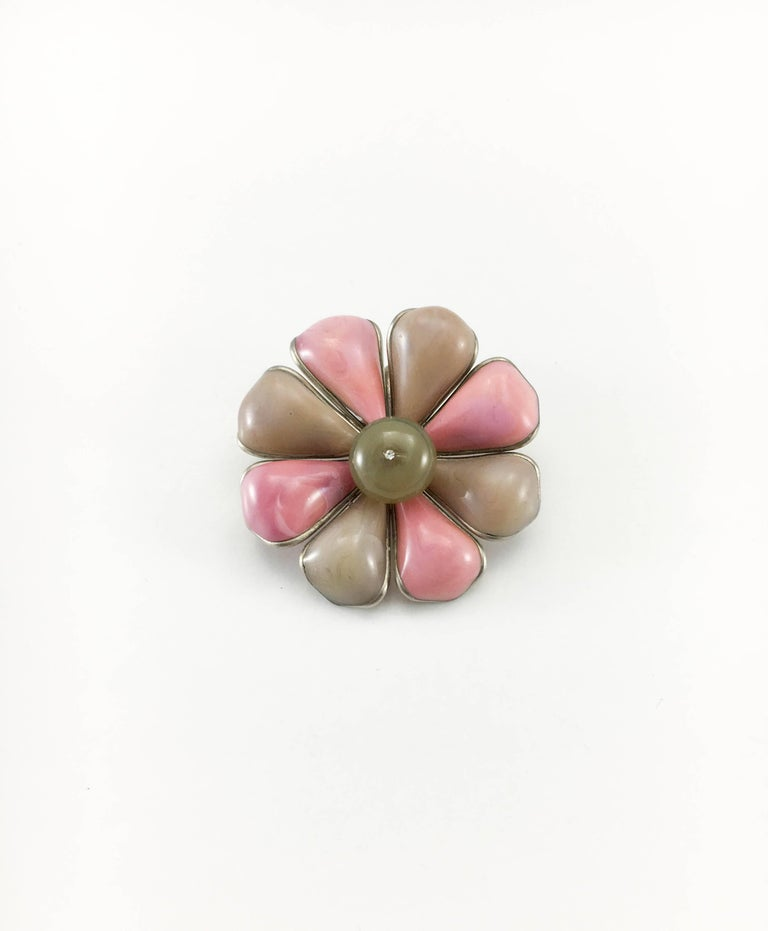 1999 Chanel Pink and Brown Flower Brooch / Pendant 2