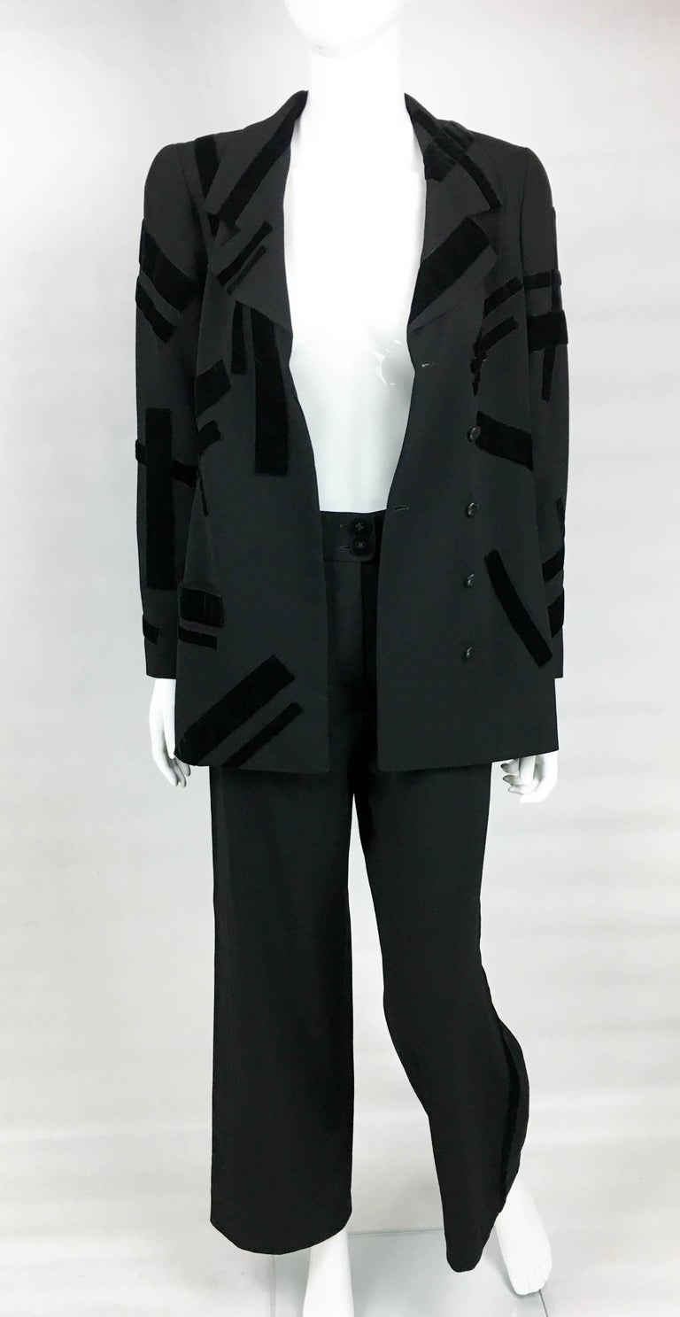 1998 Chanel Black Wool Trouser Suit With Velvet Details In Excellent Condition For Sale In London, Chelsea
