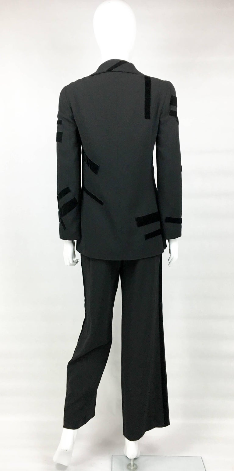 1998 Chanel Black Wool Trouser Suit With Velvet Details For Sale 4