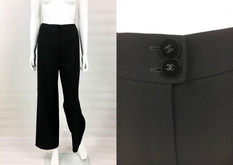 1998 Chanel Black Wool Trouser Suit With Velvet Details For Sale 5