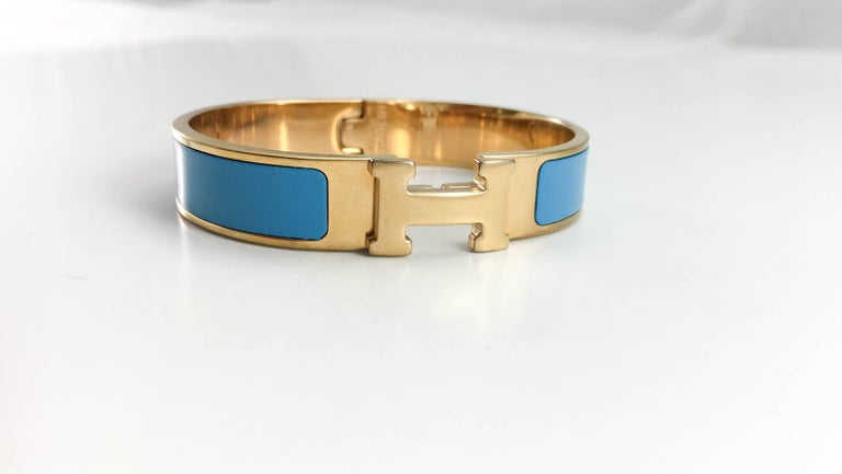 Hermes Rose Gold-Plated Clic Clac 'H' Blue Bracelet In Excellent Condition For Sale In London, Chelsea