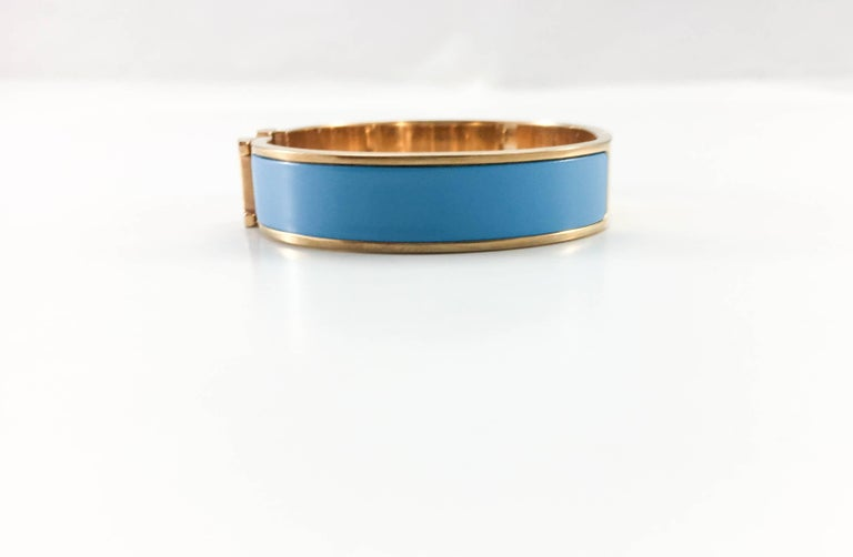 Hermes Rose Gold-Plated Clic Clac 'H' Blue Bracelet For Sale 1