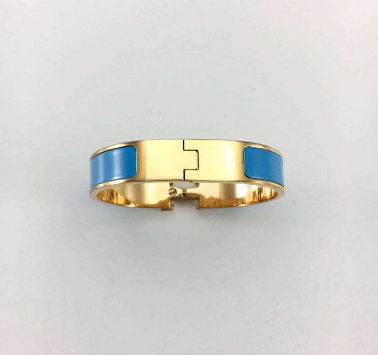 Hermes Rose Gold-Plated Clic Clac 'H' Blue Bracelet For Sale 3