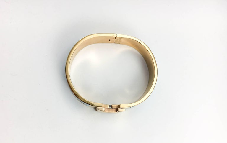 Hermes Rose Gold-Plated Clic Clac 'H' Blue Bracelet For Sale 4