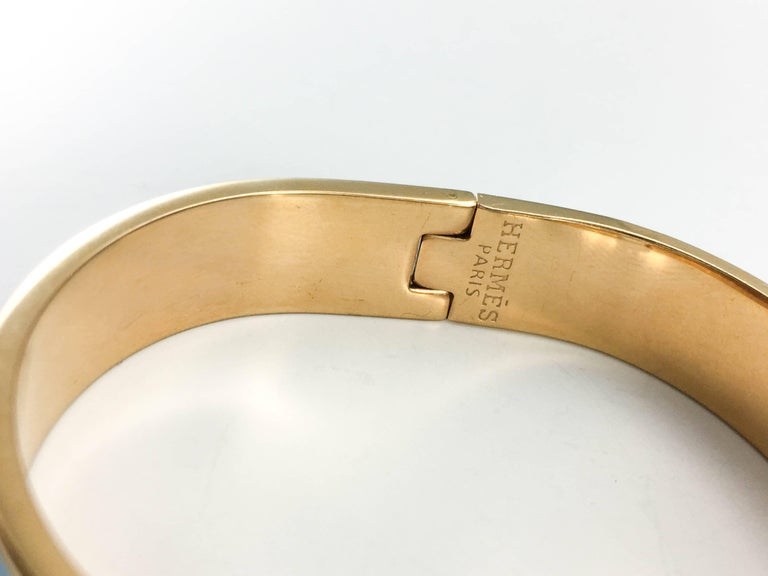 Hermes Rose Gold-Plated Clic Clac 'H' Blue Bracelet For Sale 5