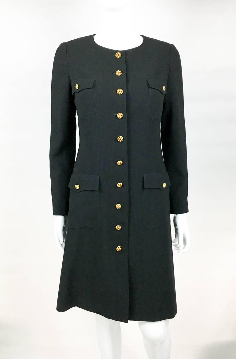 1996 Chanel Runway Look Black Wool Coat / Dress With Baroque-Style Buttons In Excellent Condition For Sale In London, Chelsea
