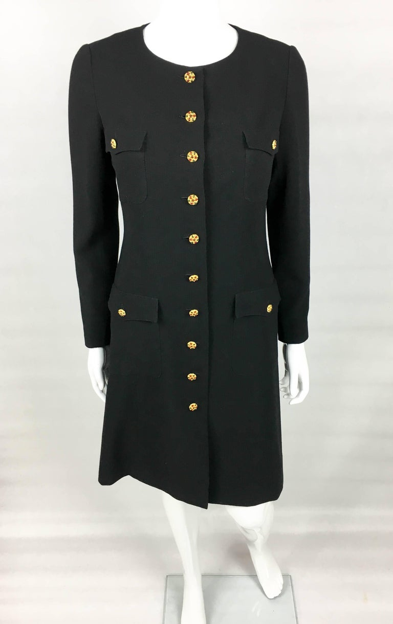 Women's 1996 Chanel Runway Look Black Wool Coat / Dress With Baroque-Style Buttons For Sale