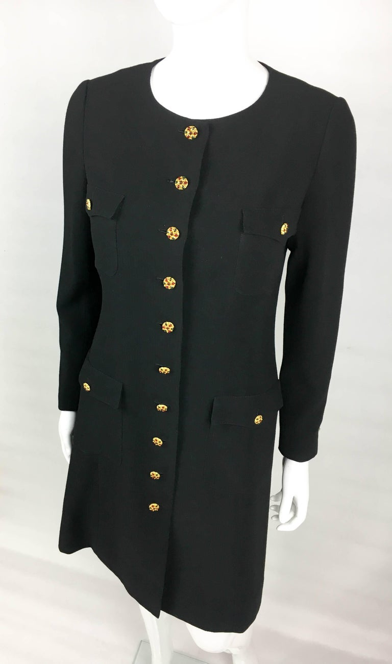 1996 Chanel Runway Look Black Wool Coat / Dress With Baroque-Style Buttons For Sale 1