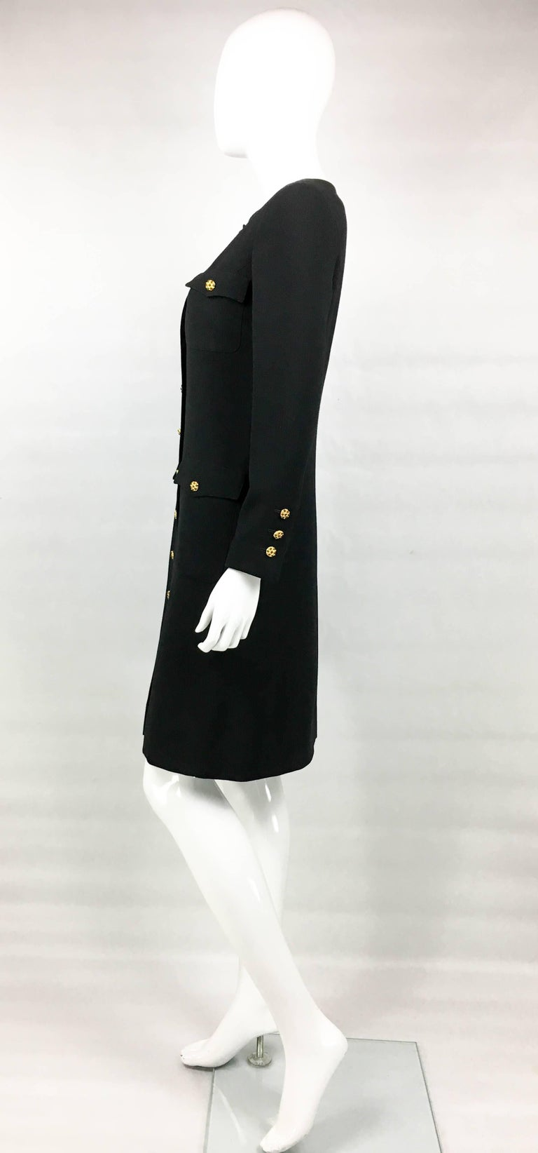 1996 Chanel Runway Look Black Wool Coat / Dress With Baroque-Style Buttons For Sale 2