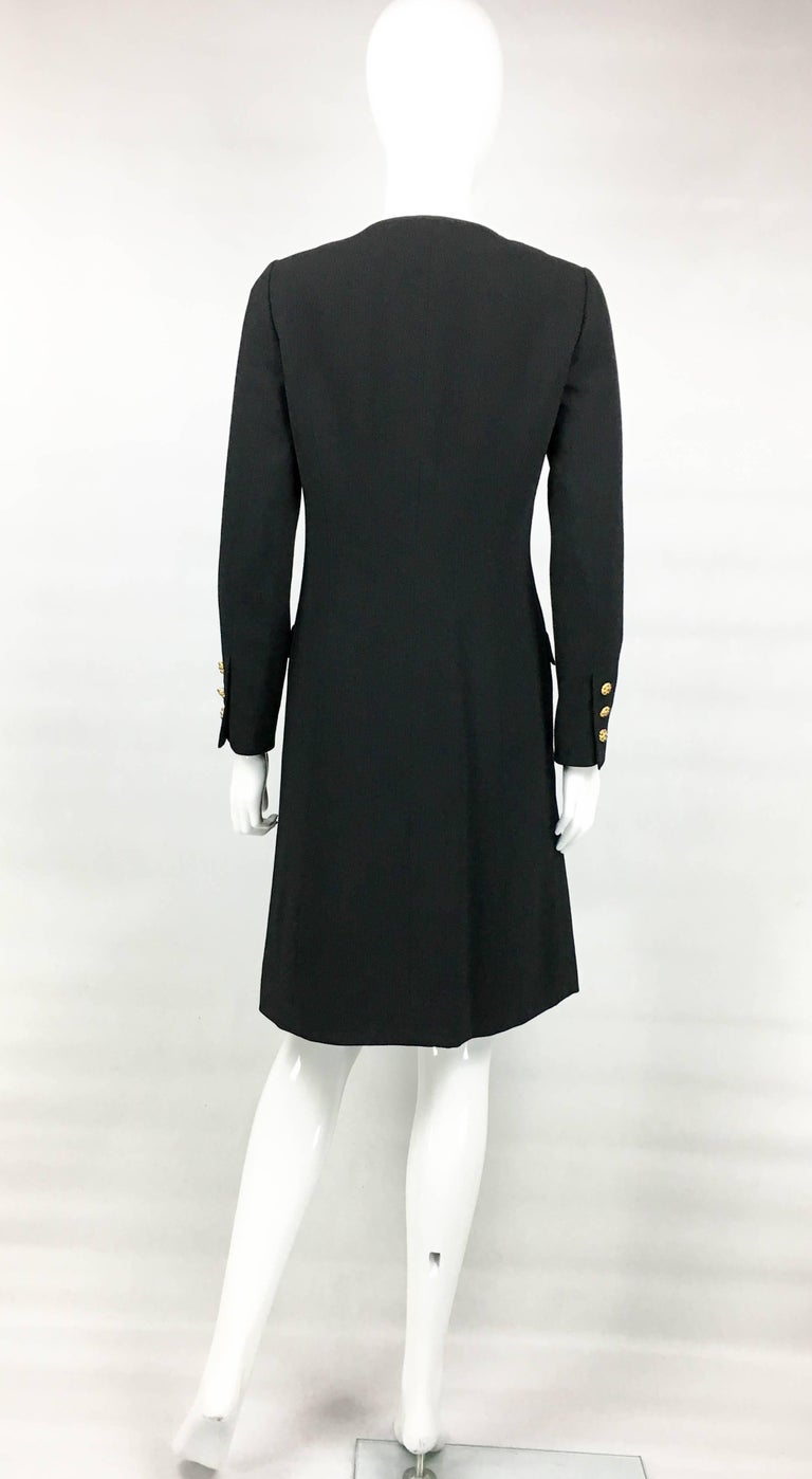 1996 Chanel Runway Look Black Wool Coat / Dress With Baroque-Style Buttons For Sale 3