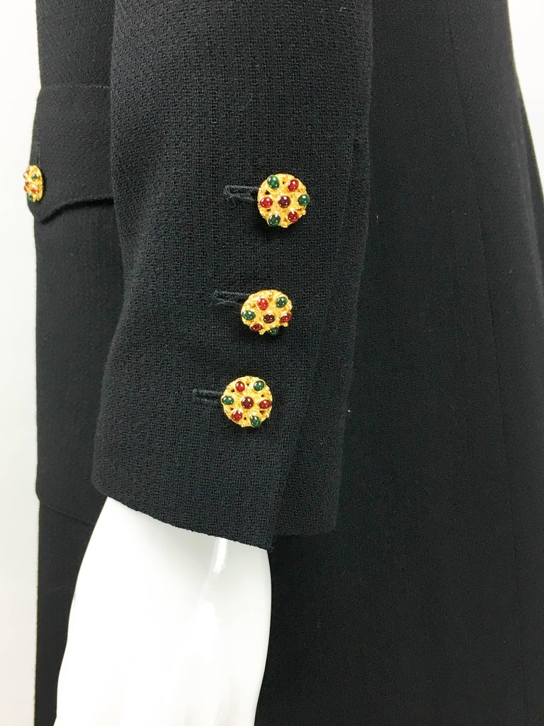 1996 Chanel Runway Look Black Wool Coat / Dress With Baroque-Style Buttons For Sale 4