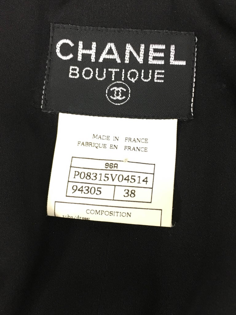 1996 Chanel Runway Look Black Wool Coat / Dress With Baroque-Style Buttons For Sale 5