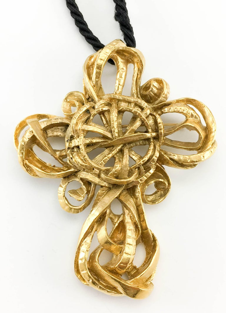 1980's Lacroix Stylised Cross Pendant Necklace / Brooch For Sale 1
