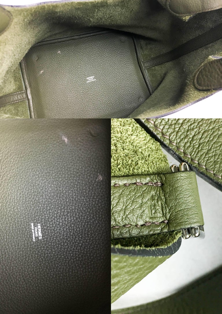 2007 Hermes Picotin 22 Handbag in Olive Green Clemence Leather For Sale 5