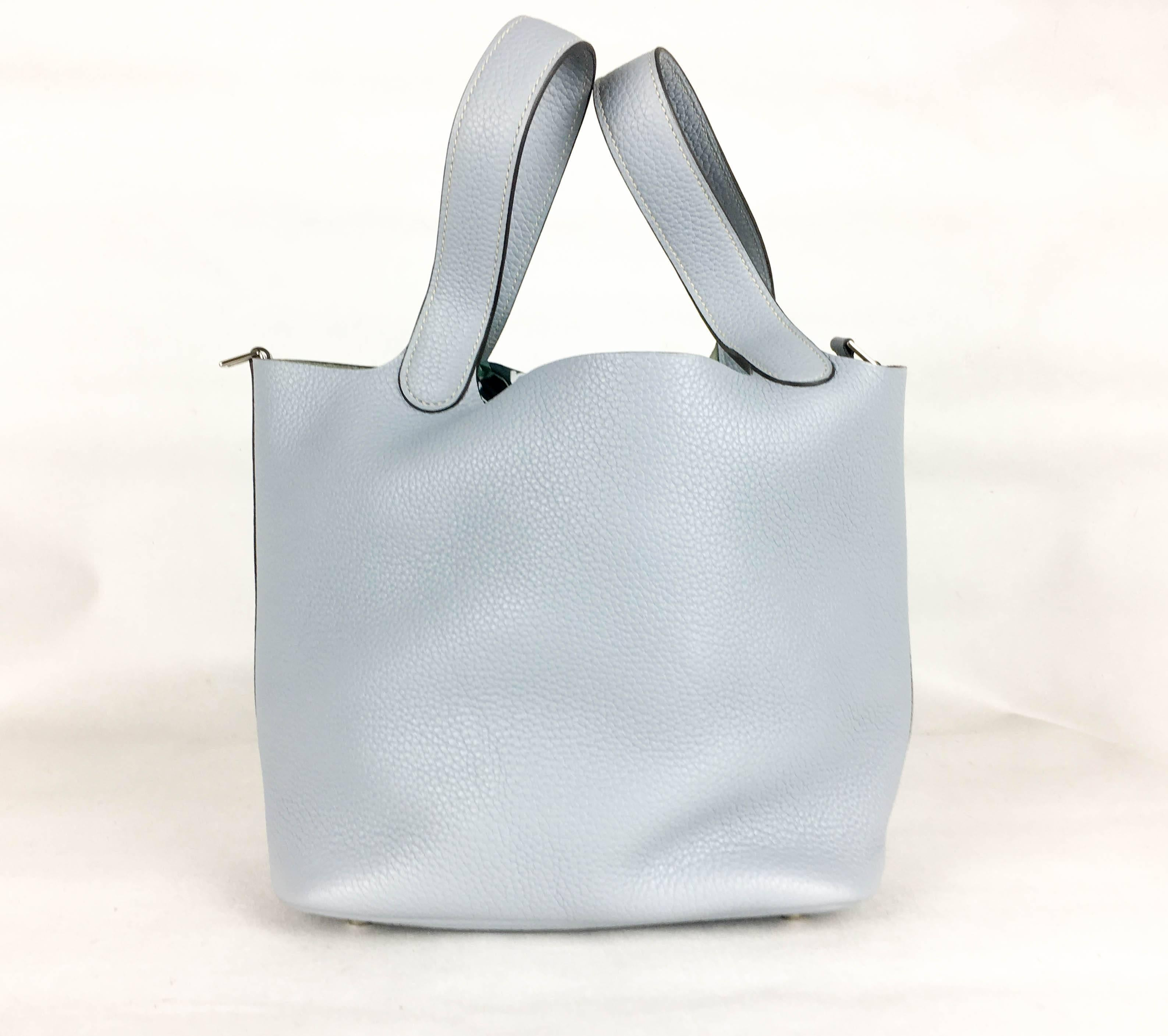 464c8454fb8a ... new zealand gray 2014 hermes picotin 22 handbag in pale blue clemence  leather for sale 7180d
