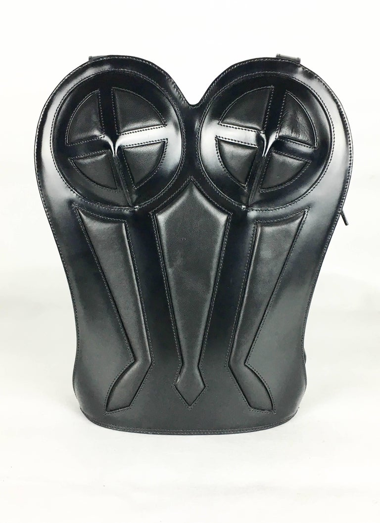 1998 Jean Paul Gaultier Black Leather Bustier Backpack In Excellent Condition For Sale In London, Chelsea